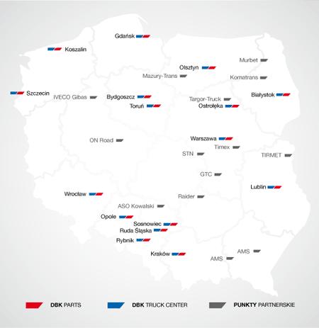 Mapa oddziałów Grupy DBK
