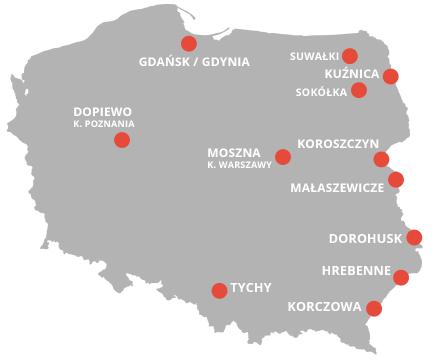 Mapa oddziałów firmy Gerlach - Polska